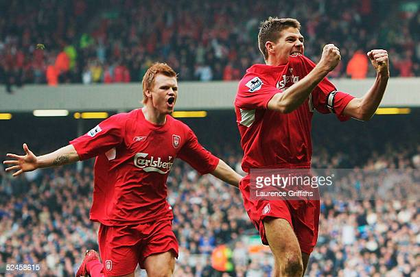 Steven Gerrard of Liverpool celebrates his goal with John Arne Riise during the FA Barclays Premiership match between Liverpool and Everton at...