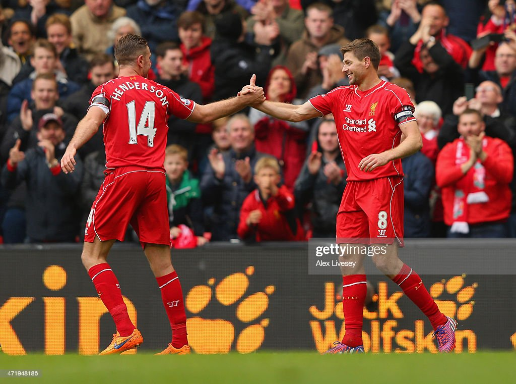 <a gi-track='captionPersonalityLinkClicked' href=/galleries/search?phrase=Steven+Gerrard&family=editorial&specificpeople=202052 ng-click='$event.stopPropagation()'>Steven Gerrard</a> of Liverpool celebrates his goal with <a gi-track='captionPersonalityLinkClicked' href=/galleries/search?phrase=Jordan+Henderson+-+Soccer+Player&family=editorial&specificpeople=4940390 ng-click='$event.stopPropagation()'>Jordan Henderson</a> during the Barclays Premier League match between Liverpool and Queens Park Rangers at Anfield on May 2, 2015 in Liverpool, England.