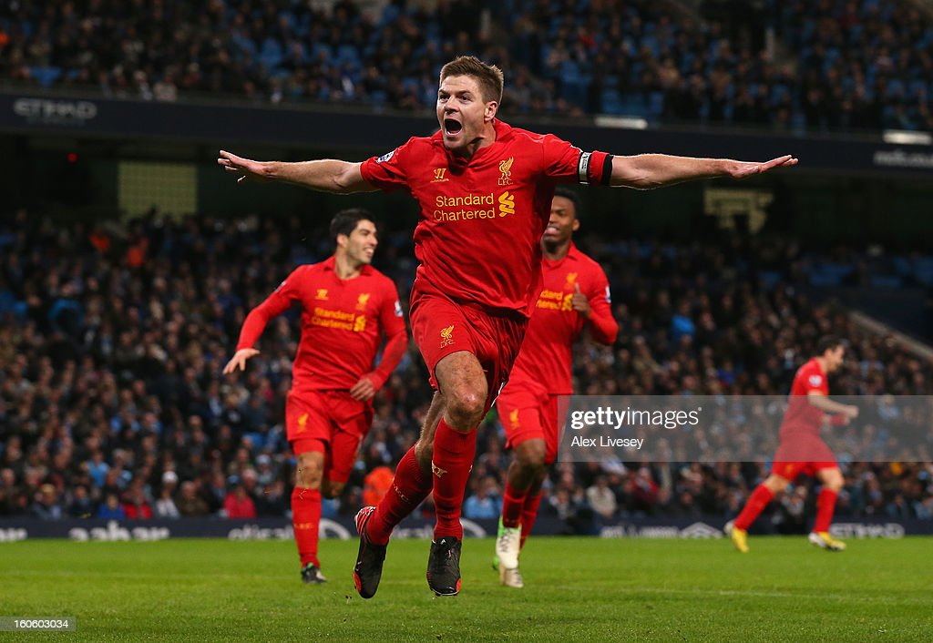 <a gi-track='captionPersonalityLinkClicked' href=/galleries/search?phrase=Steven+Gerrard&family=editorial&specificpeople=202052 ng-click='$event.stopPropagation()'>Steven Gerrard</a> of Liverpool celebrates scoring his team's second goal during the Barclays Premier League match between Manchester City and Liverpool at the Etihad Stadium on February 3, 2013 in Manchester, England.