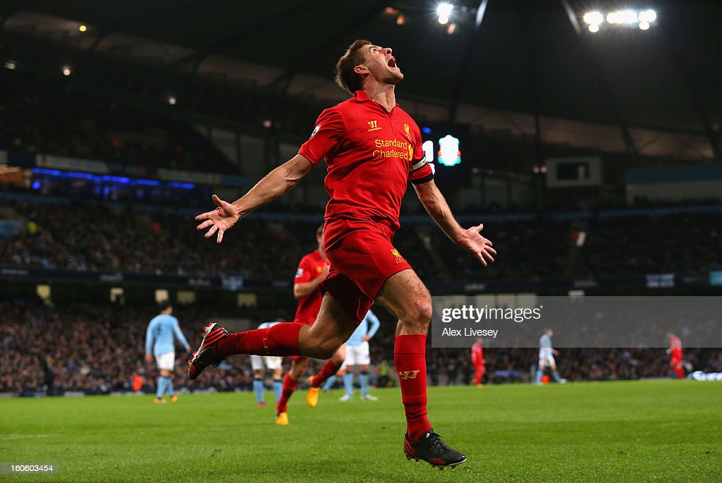 Steven Gerrard of Liverpool celebrates scoring his team's second goal during the Barclays Premier League match between Manchester City and Liverpool at the Etihad Stadium on February 3, 2013 in Manchester, England.