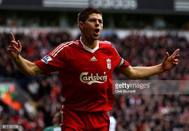 Steven Gerrard of Liverpool celebrates scoring the opening goal during the Barclays Premier League match between Liverpool and Blackburn Rovers at...