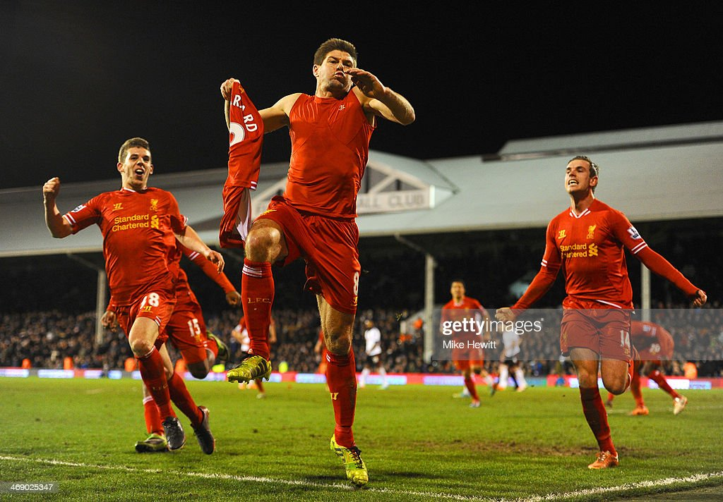 <a gi-track='captionPersonalityLinkClicked' href=/galleries/search?phrase=Steven+Gerrard&family=editorial&specificpeople=202052 ng-click='$event.stopPropagation()'>Steven Gerrard</a> of Liverpool celebrates scoring their third goal from the penalty spot during the Barclays Premier League match between Fulham and Liverpool at Craven Cottage on February 12, 2014 in London, England.