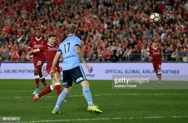 Steven Gerrard of Liverpool comes close during the International Friendly match between Sydney FC and Liverpool FC at ANZ Stadium on May 24 2017 in...