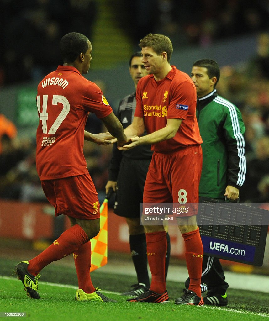 Steven Gerrard of Liverpool comes on as a substitute for Andre Wisdom during the UEFA Europa League Group A match between Liverpool FC and BSC Young Boys at Anfield on November 22, 2012 in Liverpool, England.