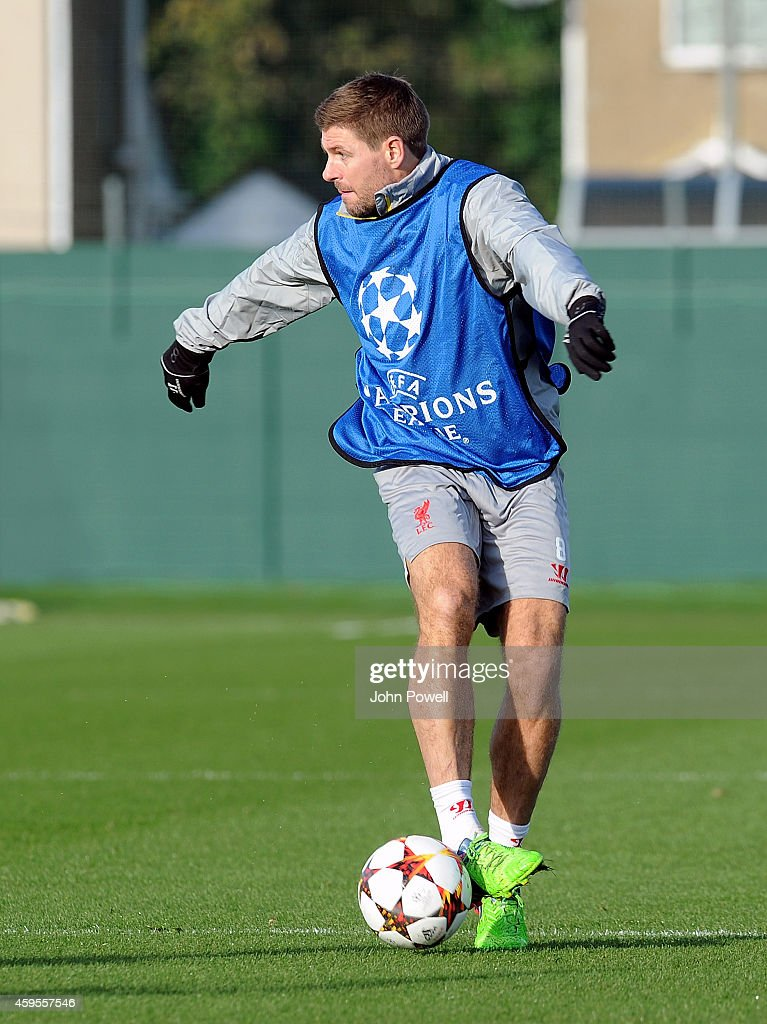 Steven Gerrard of Liverpool during a training session prior the match between PFC Ludogorets Razgrad and Liverpool at Melwood Training Ground on November 25, 2014 in Liverpool, England.
