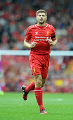Steven Gerrard of Liverpool during the Pre Season Friendly match between Liverpool and Borussia Dortmund at Anfield on August 10 2014 in Liverpool...