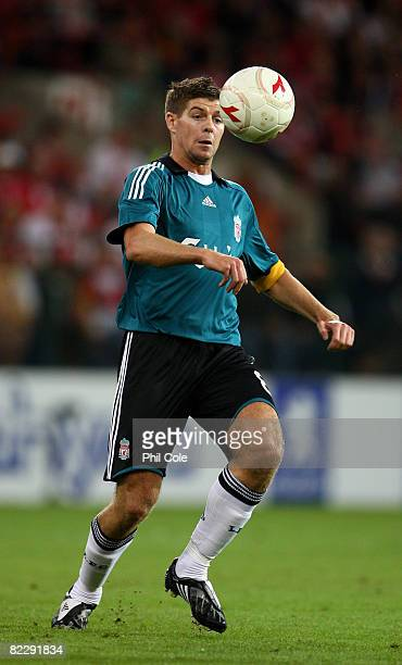 Steven Gerrard of Liverpool during the UEFA Champions League 3rd Qualifying round 1st leg match between Standard Liege and Liverpool at the Stade...