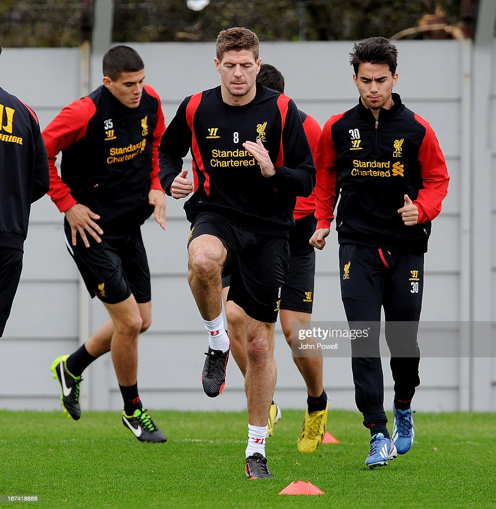 Steven Gerrard of Liverpool in aciton during a training session at Melwood Training Ground on April 25, 2013 in Liverpool, England.