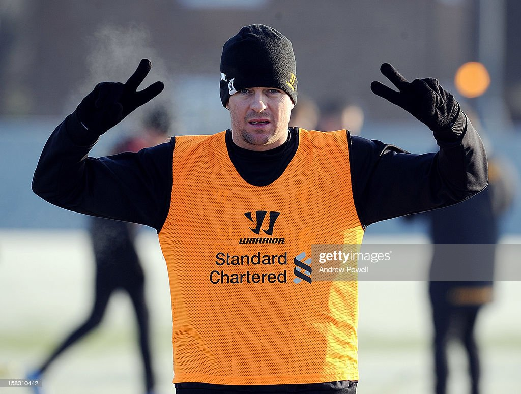 <a gi-track='captionPersonalityLinkClicked' href=/galleries/search?phrase=Steven+Gerrard&family=editorial&specificpeople=202052 ng-click='$event.stopPropagation()'>Steven Gerrard</a> of Liverpool in action during a training session at Melwood Training Ground on December 13, 2012 in Liverpool, England.