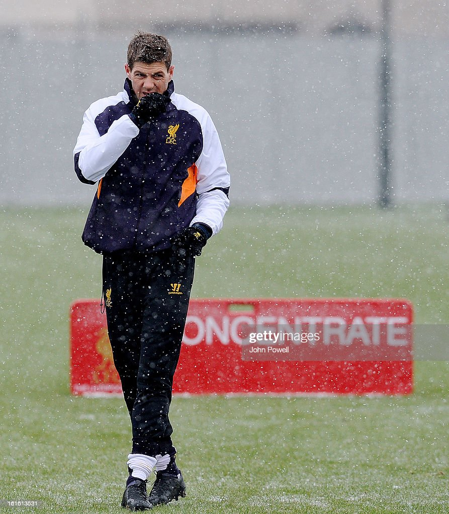 Steven Gerrard of Liverpool in action during a training session at Melwood Training Ground on February 13, 2013 in Liverpool, England.