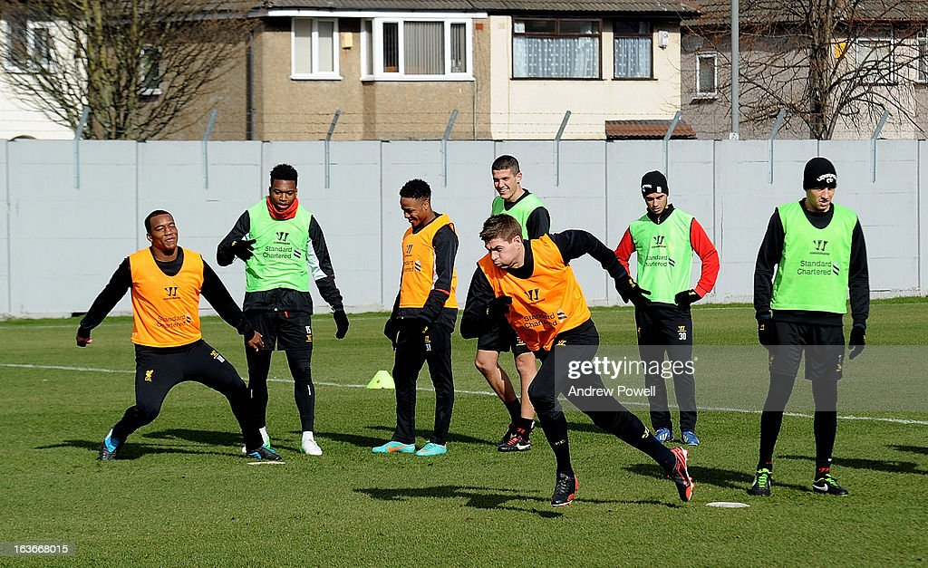 <a gi-track='captionPersonalityLinkClicked' href=/galleries/search?phrase=Steven+Gerrard&family=editorial&specificpeople=202052 ng-click='$event.stopPropagation()'>Steven Gerrard</a> of Liverpool in action during a training session at Melwood Training Ground on March 14, 2013 in Liverpool, England.