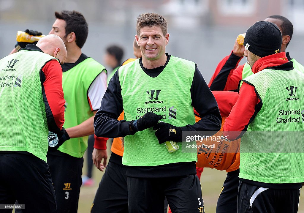 Steven Gerrard of Liverpool in action during a training session at Melwood Training Ground on April 11, 2013 in Liverpool, England.