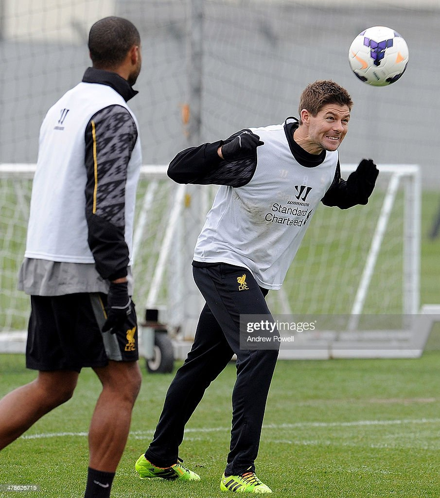 <a gi-track='captionPersonalityLinkClicked' href=/galleries/search?phrase=Steven+Gerrard&family=editorial&specificpeople=202052 ng-click='$event.stopPropagation()'>Steven Gerrard</a> of Liverpool in action during a training session at Melwood Training Ground on March 14, 2014 in Liverpool, England.