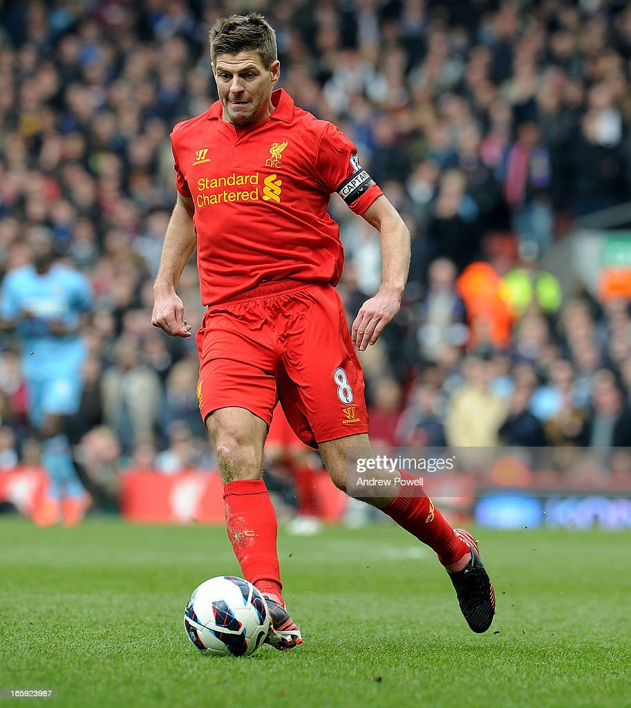 <a gi-track='captionPersonalityLinkClicked' href=/galleries/search?phrase=Steven+Gerrard&family=editorial&specificpeople=202052 ng-click='$event.stopPropagation()'>Steven Gerrard</a> of Liverpool in action during the Barclays Premier League match between Liverpool and West Ham United at Anfield on April 7, 2013 in Liverpool, England.