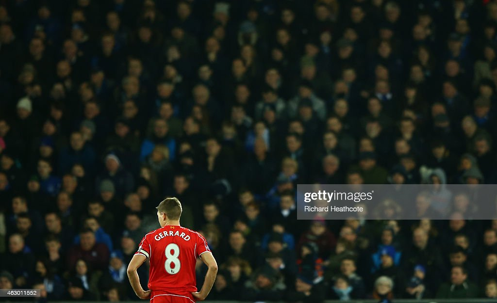 Steven Gerrard of Liverpool in action during the Barclays Premier League match between Everton and Liverpool at Goodison Park on February 7, 2015 in Liverpool, England.