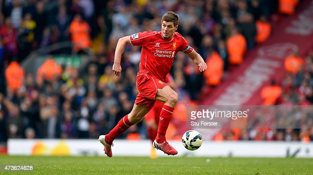 Steven Gerrard of Liverpool in action during the Barclays Premier League match betrween Liverpool and Crystal Palace at Anfield on May 16 2015 in...