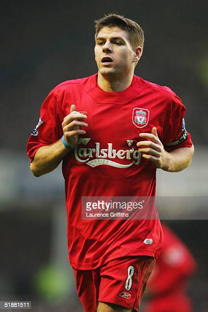 Steven Gerrard of Liverpool in action during the FA Barclays Premiership match between Everton and Liverpool at Goodison Park on December 11 2004 in...