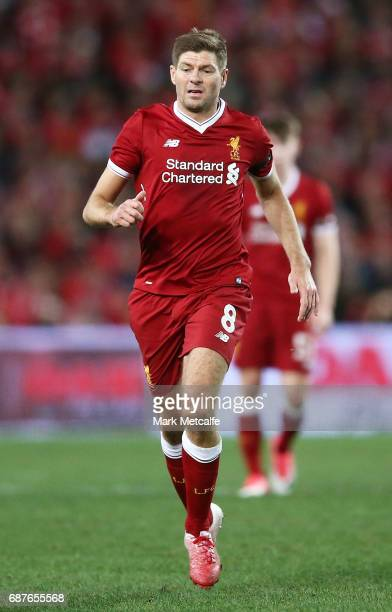 Steven Gerrard of Liverpool in action during the International Friendly match between Sydney FC and Liverpool FC at ANZ Stadium on May 24 2017 in...