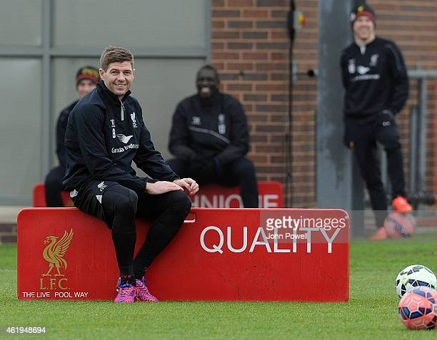 Steven Gerrard of Liverpool in ation during a training session at Melwood Training ground on January 22 2015 in Liverpool England