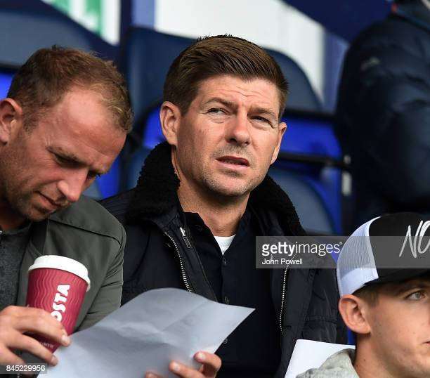 OUT Steven Gerrard of Liverpool in the stands during the game at Prenton Park on September 10 2017 in Birkenhead England