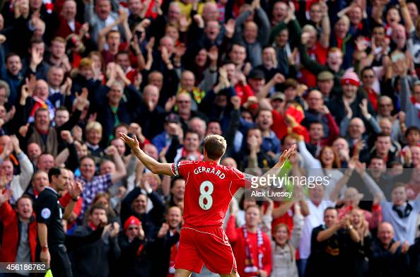 Steven Gerrard of Liverpool infront of the home fans after scoring the opening goal from a free kick during the Barclays Premier League match between...