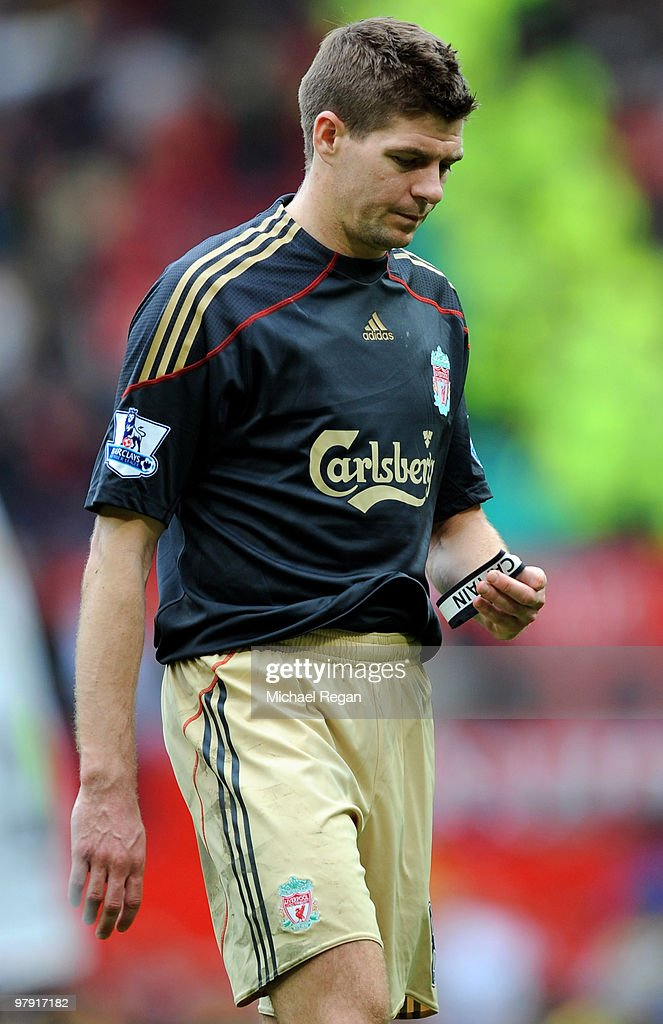 Steven Gerrard of Liverpool looks dejected after the Barclays Premier League match between Manchester United and Liverpool at Old Trafford on March 21, 2010 in Manchester, England.