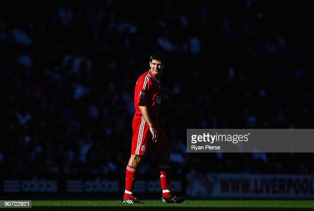 Steven Gerrard of Liverpool looks on during the Barclays Premier League match between Liverpool and Burnley at Anfield on September 12 2009 in...