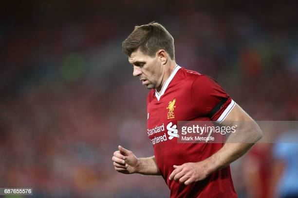 Steven Gerrard of Liverpool looks on during the International Friendly match between Sydney FC and Liverpool FC at ANZ Stadium on May 24 2017 in...