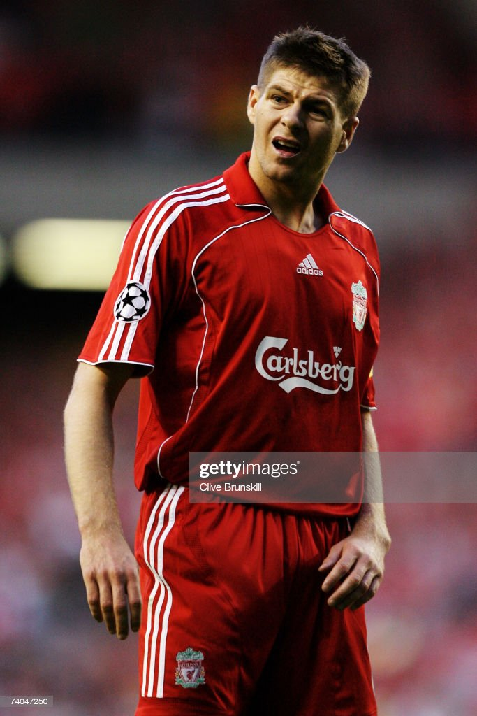 Steven Gerrard of Liverpool looks on during the UEFA Champions League semi final second leg match between Liverpool and Chelsea at Anfield on May 1, 2007 in Liverpool, England.