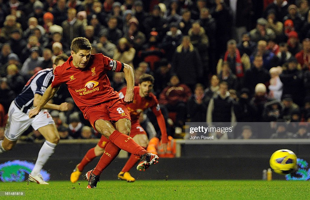 <a gi-track='captionPersonalityLinkClicked' href=/galleries/search?phrase=Steven+Gerrard&family=editorial&specificpeople=202052 ng-click='$event.stopPropagation()'>Steven Gerrard</a> of Liverpool misses a penalty during the Barclays Premier League match between Liverpool and West Bromwich Albion at Anfield on February 11, 2013 in Liverpool, England.