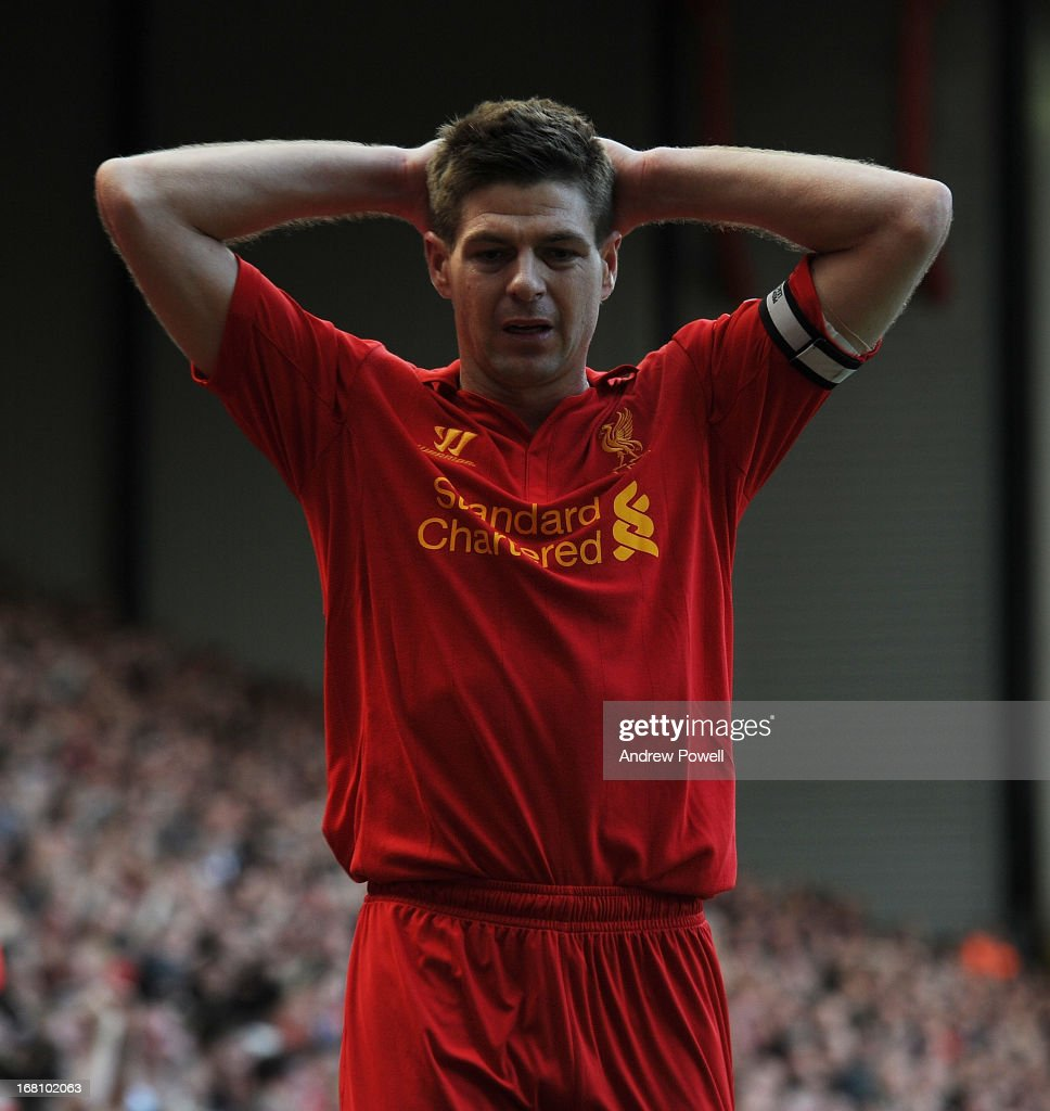 <a gi-track='captionPersonalityLinkClicked' href=/galleries/search?phrase=Steven+Gerrard&family=editorial&specificpeople=202052 ng-click='$event.stopPropagation()'>Steven Gerrard</a> of Liverpool reacts during the Barclays Premier League match between Liverpool and Everton at Anfield on May 5, 2013 in Liverpool, England.
