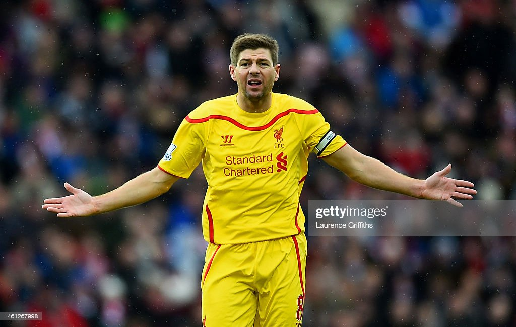 <a gi-track='captionPersonalityLinkClicked' href=/galleries/search?phrase=Steven+Gerrard&family=editorial&specificpeople=202052 ng-click='$event.stopPropagation()'>Steven Gerrard</a> of Liverpool reacts during the Barclays Premier League match between Sunderland and Liverpool at Stadium of Light on January 10, 2015 in Sunderland, England.