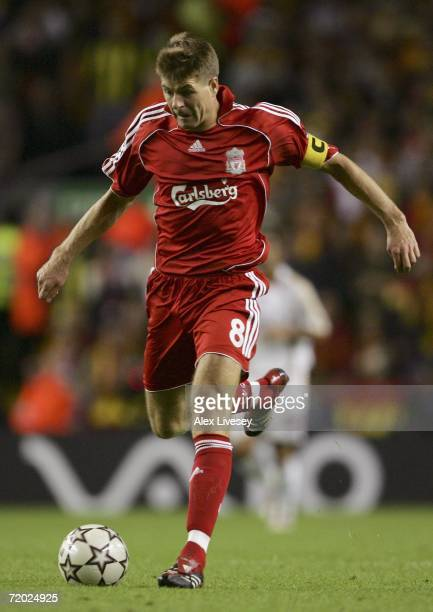 Steven Gerrard of Liverpool runs with the ball during the UEFA Champions League group C match between Liverpool and Galatasaray at Anfield on...