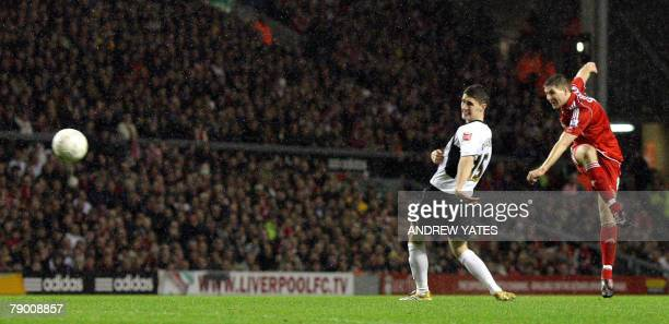 Steven Gerrard of Liverpool scores his third goal against Luton Town during the Fa cup third round replay football match at Anfield Liverpool...