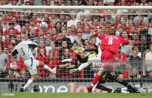 Steven Gerrard of Liverpool shoots and scores his sides first goal during the FA Cup Final match between Liverpool and West Ham United at the...
