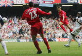 Steven Gerrard of Liverpool shoots and scores his sides third goal during the FA Cup Final match between Liverpool and West Ham United at the...