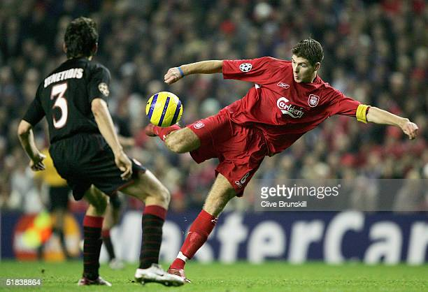 Steven Gerrard of Liverpool shoots only to see his goal dissalowed during the Champions League Group A match between Liverpool and Olympiakos at...