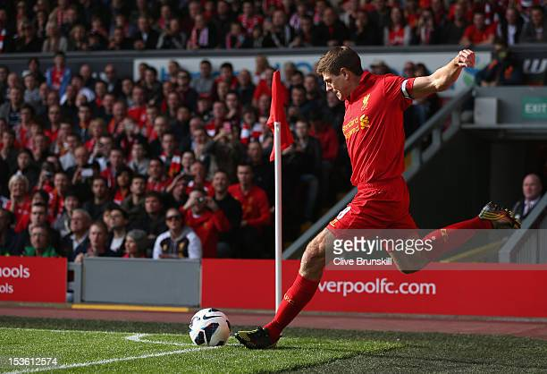 Steven Gerrard of Liverpool takes a corner during the Barclays Premier League match between Liverpool and Stoke City at Anfield on October 7 2012 in...