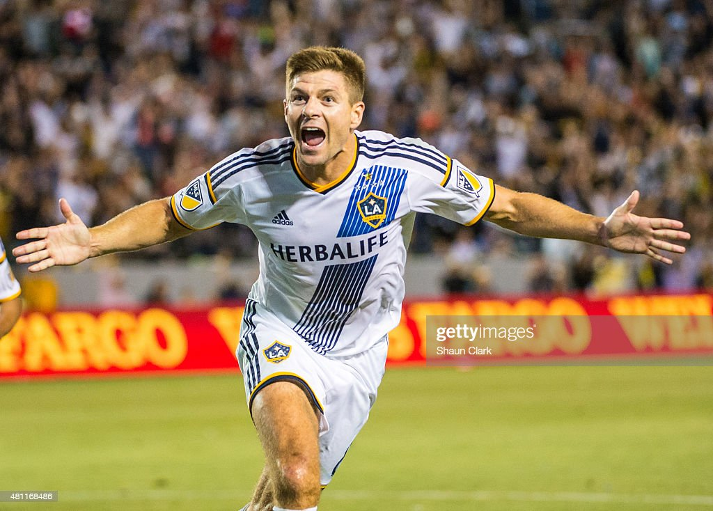 <a gi-track='captionPersonalityLinkClicked' href=/galleries/search?phrase=Steven+Gerrard&family=editorial&specificpeople=202052 ng-click='$event.stopPropagation()'>Steven Gerrard</a> #8 of Los Angeles Galaxy celebrates his first goal for the Los Angeles Galaxy during Los Angeles Galaxy's MLS match against San Jose Earthquakes at the StubHub Center on July 17, 2015 in Carson, California. The LA Galaxy won the match 5-2