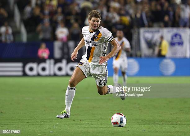 Steven Gerrard of Los Angeles Galaxy paces the ball on attack during the second half of the MLS match against the Colorado Rapids at StubHub Center...