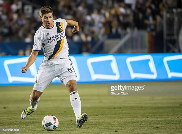 Steven Gerrard of Los Angeles Galaxy passes the ball during Los Angeles Galaxy's MLS match against Colorado Rapids at the StubHub Center on June 22...