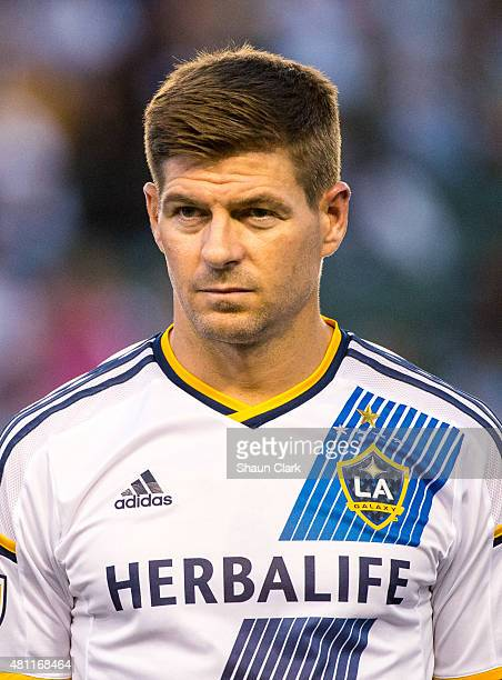 Steven Gerrard of Los Angeles Galaxy prior to his debut during the Los Angeles Galaxy's MLS match against San Jose Earthquakes at the StubHub Center...