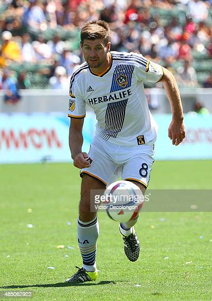 Steven Gerrard of Los Angeles Galaxy pursues the ball in the second half against the New York City FC during the MLS match at StubHub Center on...