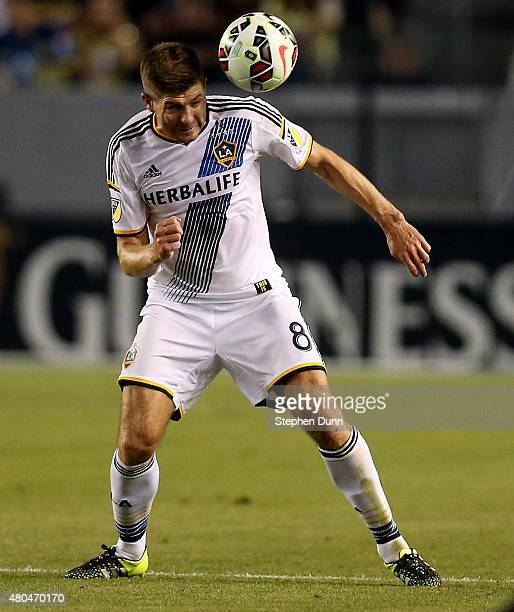 Steven Gerrard of the Los Angeles Galaxy passes the ball off his head against Club America in the International Champions Cup 2015 at StubHub Center...