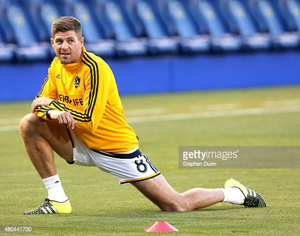 Steven Gerrard of the Los Angeles Galaxy stretches before the match with Club America in the International Champions Cup 2015 at StubHub Center on...