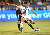 Steven Gerrard of the Los Angeles Galaxy takes a shot on goal against Club America in the International Champions Cup 2015 at StubHub Center on July...