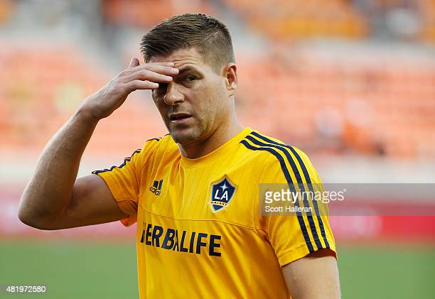 Steven Gerrard of the Los Angeles Galaxy works out on the field prior to the start of their game against the Houston Dynamo at BBVA Compass Stadium...