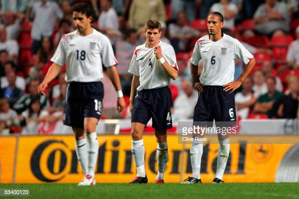 Steven Gerrard Owen Hargreaves and Rio Ferdinand look dejected during the International friendly match between Denmark and England at The Parken...
