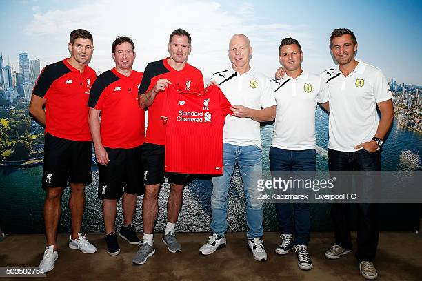 Steven Gerrard Robbie Fowler Jamie Carragher Robbie Slater Jason Culina and David Zdrillic pose at the Park Hyatt Hotel on January 6 2016 in Sydney...