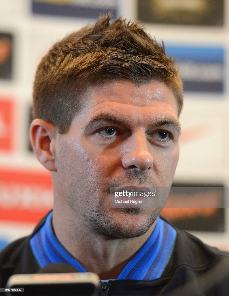 <a gi-track='captionPersonalityLinkClicked' href=/galleries/search?phrase=Steven+Gerrard&family=editorial&specificpeople=202052 ng-click='$event.stopPropagation()'>Steven Gerrard</a> speaks to the media during the England press conference at the Churchill Hotel on February 5, 2013 in London, England.